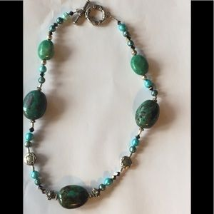 """Sterling Silver,  Natural Turquoise 24 """" Necklace"""